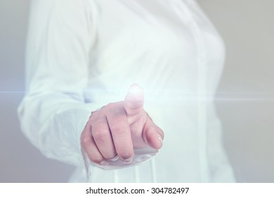 Business woman pressing touch screen template