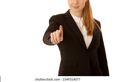 business woman pressing virtual button over gray background