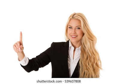 business woman pressing virtual button isolated over white.
