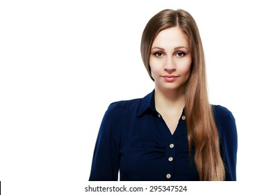business woman professional portrait. Young female businesswoman close up portrait isolated on white background. Mixed race Asian Caucasian female model in her twenties.