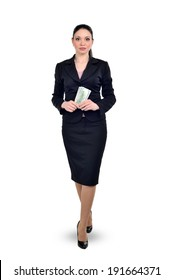 Business woman, business proposal, the operation with money and currency