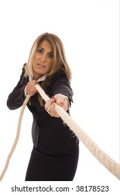 Business woman pulling a rope isolate on white background