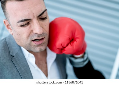 business woman punch her boss for revenge of bad management