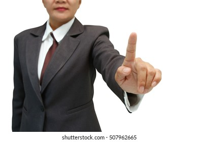 Business woman pushing on a touch screen interface isolated on white background,with clipping path.