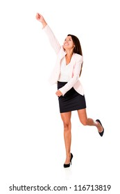 Business woman reaching something - isolated over a white background