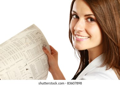 Business woman reading  newspaper isolated on white background