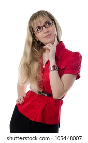 business woman in red shirt and glasses, isolated on white