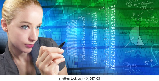 A business woman is reviewing financial figures and there is an abstract background with charts and graphs behind her. She is holding a pen.