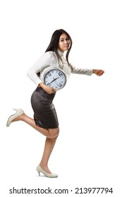 Business woman running and holding a clock, Isolated over white