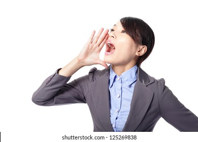 business woman scream to empty copy space by having combined hands in a megaphone isolated on white background, asian model