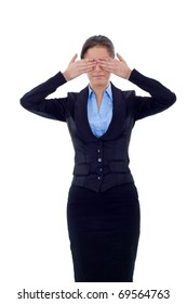 business woman in the See No Evil pose over white