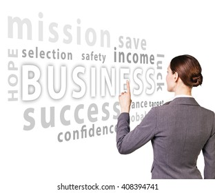 Business woman select word in words cloud