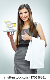 Business woman selling concept isolated portrait. Thumb up show. Smiling girl.