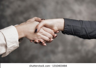 Business woman shaking hands of partner as symbol of close a deal or partnership, friendship and  trust.