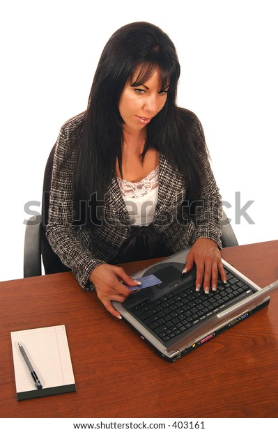 Business woman shopping on line