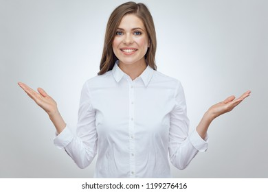 Business woman show empty hands. Isolated portrait on white.