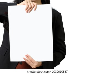 business woman show her business graph paper on white background
