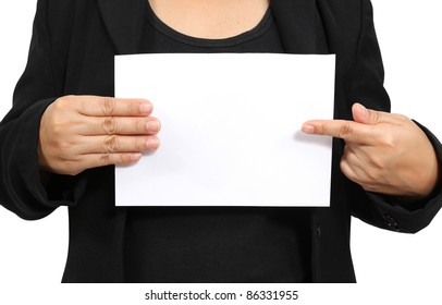 Business woman show and point to white paper