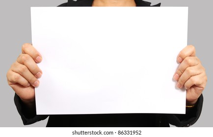 Business woman show white paper on her hand