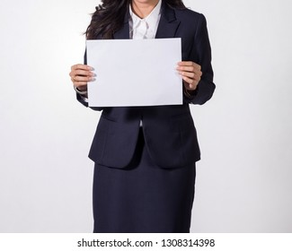 Business woman showing  blank white paper.