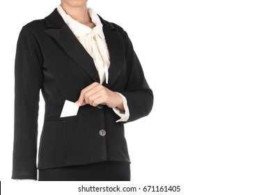 business woman showing a business card isolated on white background