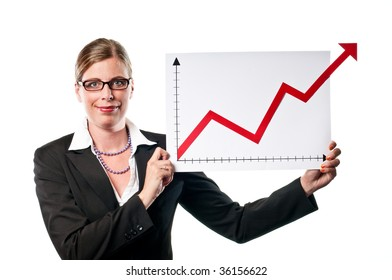 Business woman showing a chart on white background