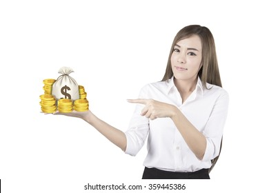Business woman showing with hand on white space.money bag