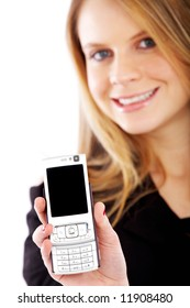 business woman showing her phone isolated over a white background