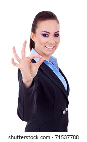 business woman showing ok sign on white background