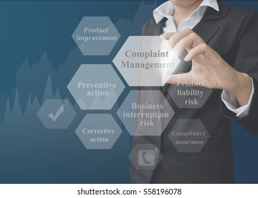 Business woman showing presentation element of Complaint Management on blue background. Idea for used in company and training.