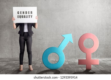 Business woman showing symbol of gender equality in the white banner. Equality gender concept