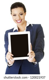Business woman showing tablet PC with touch pad. Isolated on white