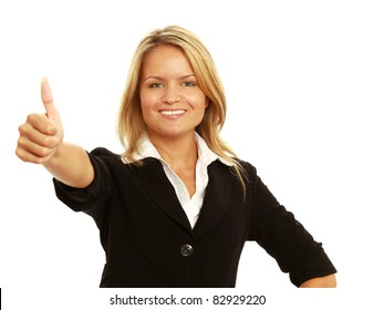 Business woman showing thumb up, isolated over white background.