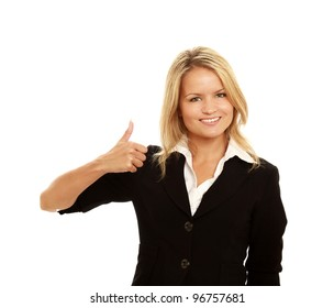 Business woman showing thumb up, isolated on white background.
