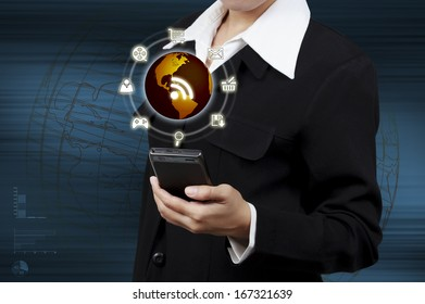 Business woman showing virtual global communication. Concept of boundless communication.