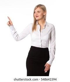 business woman shows signs