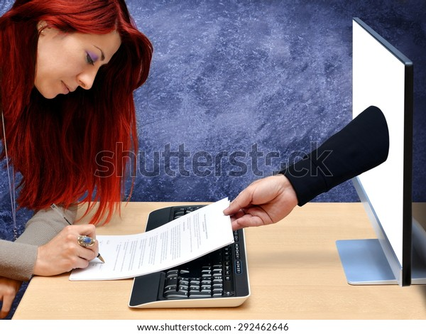 business woman signing contract online in office for credit card