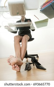 796b492f0d3a Business Woman Sitting Behind Her Desk Stock Photo (Edit Now ...