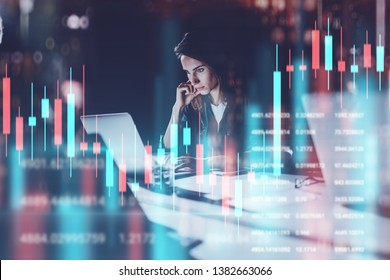 Business woman sitting at night office in front laptop computer with financial graphs and statistics on monitor. Red and green candlestick chart and stock trading on background. Double exposure