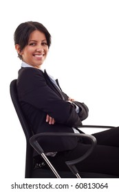 business woman sitting on office chair over white
