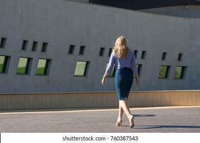Business woman in a skirt walking down the street, rear view