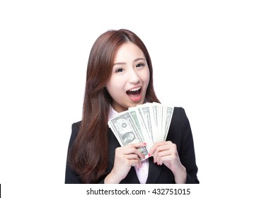 business woman smile happy with handful of money isolated on white background, asian beauty model