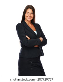 Business woman is smiling cheerful looking into the camera.   Isolated on a white background.