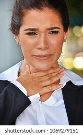 Business Woman With Sore Throat