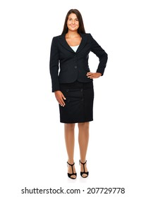 Business woman standing full legth with empty copy space.   Isolated on a white background.