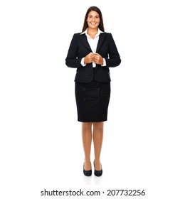 Business woman standing full length smiling cheerful. Isolated on white background.