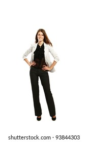 Business woman standing in full length isolated on white background.
