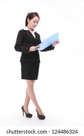 Business woman standing isolated white background