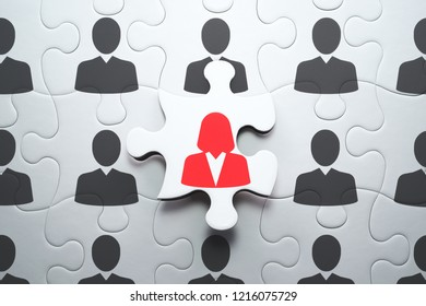 Business woman standing out from the crowd. Selecting right people for organization's success. 