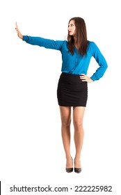 Business woman with stop hand gesture. Full body length isolated over white background.